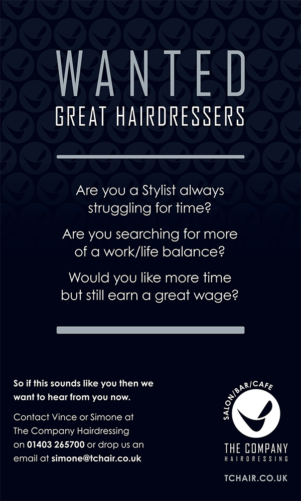 advert_the_company The Company, hairdressers, salon, Horsham, recruiting, hairdressing, stylists